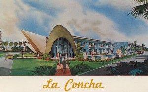La Concha Motel, Las Vegas Nevada. built in 1961, designed by famed architect Paul R. Williams. vintage motel postcards
