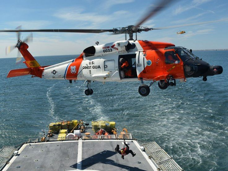 Coast Guard 6033 Practicing Shipboard Hoisting As A