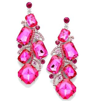 Hot Pink Long Crystal Earrings Elegant Prom Evening Jewelry