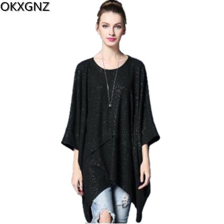 OKXGNZ 2017Hot Sale Europe Style New Women's Casual Fashion Loose Irregular T-shirt Batwing Tops Plus size Women's clothing H003