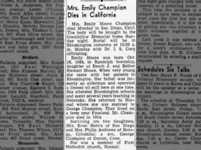 Mrs. Emily Moore Champion Dies in California, The Pantagraph (Bloomington, IL) 21 Jun 1945