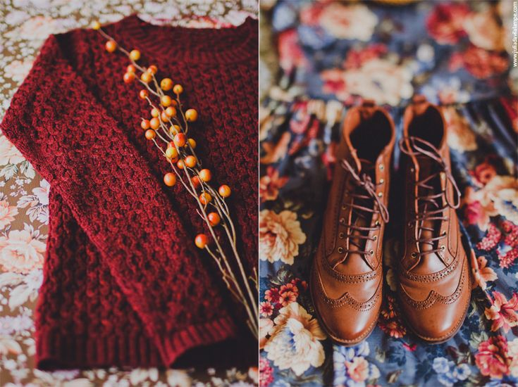 fall, autumn, jumper, nature, floral, photography, styling, boots, brown, brogues, tan