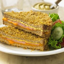 Ham and Cheese Toasties for Two: A Monte Cristo-like ham and cheese sandwich, with a crunchy coating on the bread, that is baked instead of fried