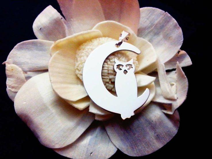 Ciondolo Moon owl oro bianco Adornos, by Adornos Gioielleria Artistica, 35,00 € su misshobby.com