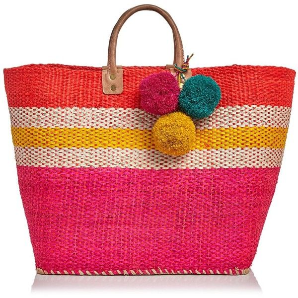 mar Y sol Hana Basket Tote (¥9,920) ❤ liked on Polyvore featuring bags, handbags, tote bags, straw hand bags, straw tote, man bag, pink handbags and purse tote