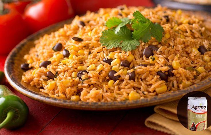 Μεξικάνικο ρύζι με μαύρα φασόλια και καλαμπόκι