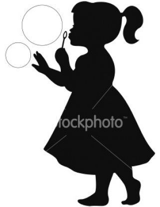 little girl silhouette blowing bubbles - would be precious to use these on playroom walls