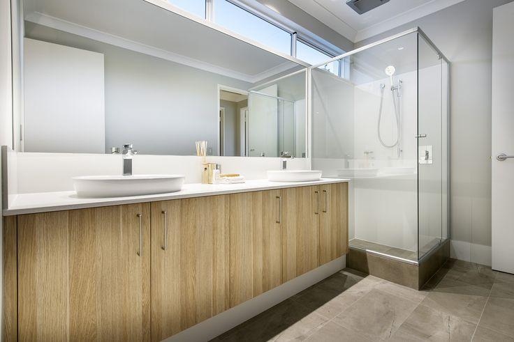 Guest bathroom at The Islander display home by Webb & Brown-Neaves.