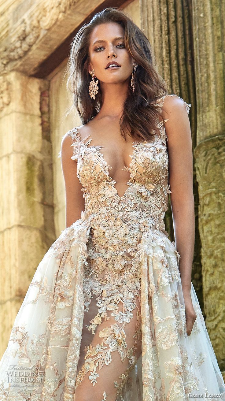 galia lahav fall 2017 bridal sleeveless deep plunging v neck full embellishment sexy princess ball gown a  line wedding dress overskirt illusion low back chapel train (lilyrose) zv