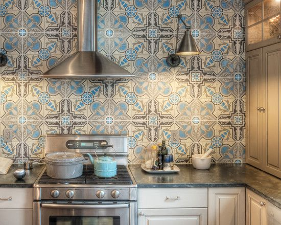 Farmhouse Kitchen By Kenny Grono, Backsplash Cuban Heritage Cement Tiles  From Avente Tile.