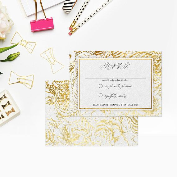 Wedding rsvp cards Gold rsvp cards Wedding reply cards