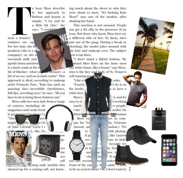 """CHICOS FAMOSOS"" by star2808 ❤ liked on Polyvore featuring Sophnet., Valentino, Denham, Skagen, Alexander McQueen, Master & Dynamic, County Of Milan, Yves Saint Laurent, Bulgari and men's fashion"