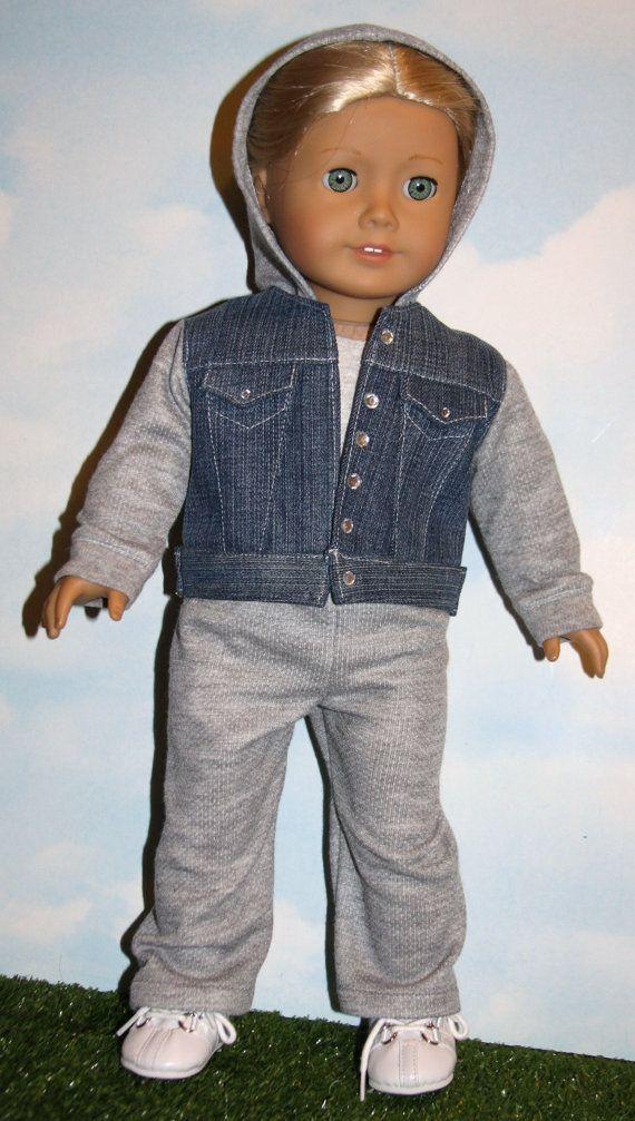 18 Inch Doll like American Girl Jean Jacket Hoodie by SewLikeBetty