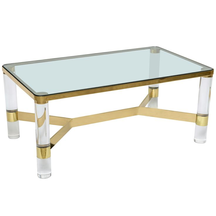 78 Images About Modern Lucite Glass And Brass Coffee Tables On Pinterest Furniture Glasses