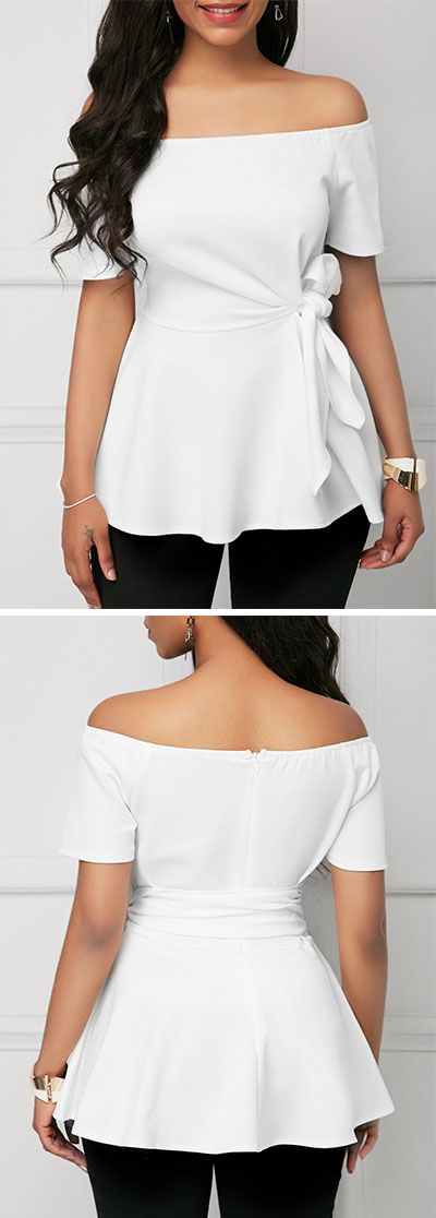 Short Sleeve Belted Off the Shoulder White Blouse.