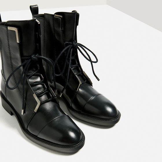 Image 4 of LACE-UP LEATHER HIGH HEEL ANKLE BOOTS from Zara | WL S