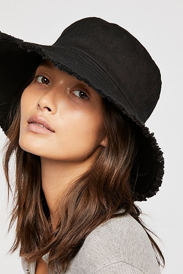 4654fa1e Cast Away Fringe Bucket Hat - Black Bucket Hat with Distressed Fringe Edge