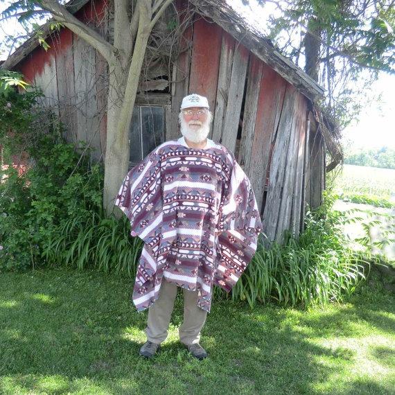 Clint Eastwood Style Poncho In Southwest Print Fleece Serape