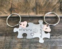 Coördinaat puzzel sleutelhangers lange verre relatie hand gestempeld jewlery sleutelhangers gepersonaliseerd zijn en haar beste vrienden sieraden