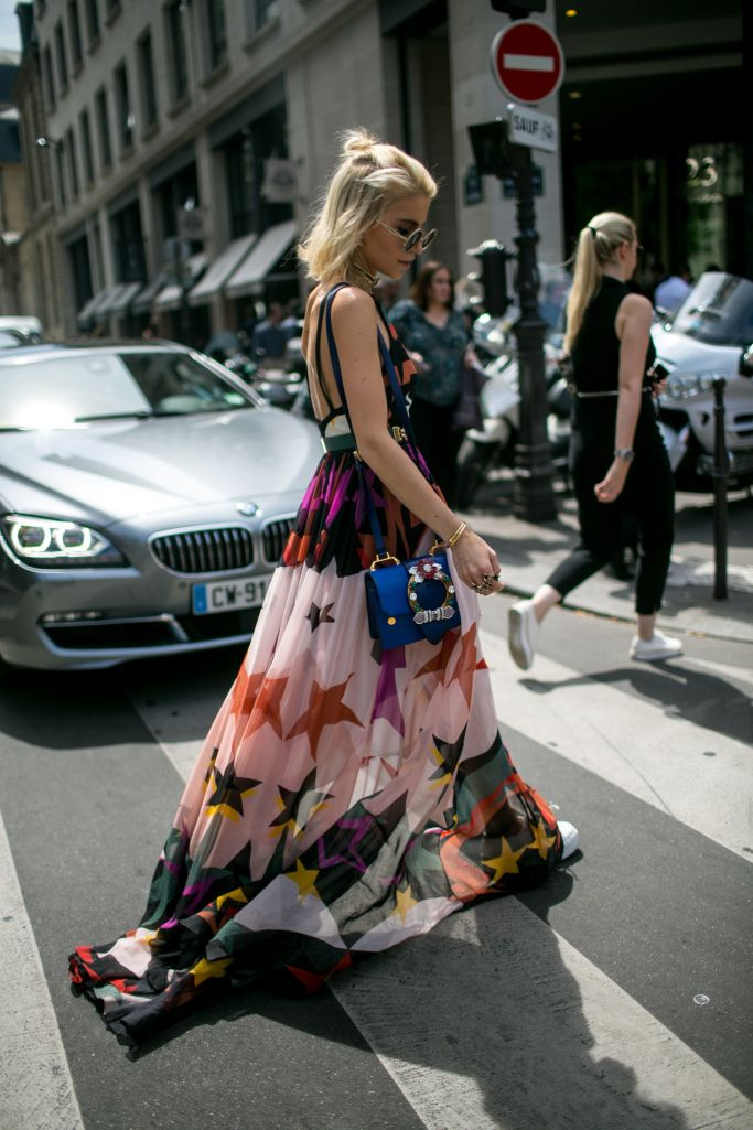 Street style at Paris Couture Week Fall 2017 – Star print dress.