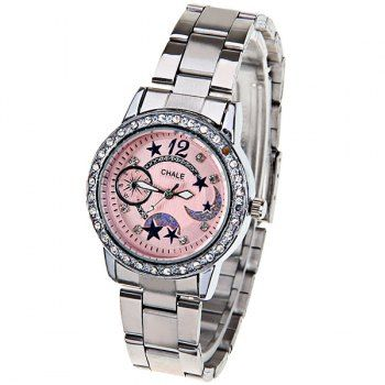 Chale Quartz Watch with 1 Number and Diamond Squares Hour Marks Steel Watch Band for Women - Peach