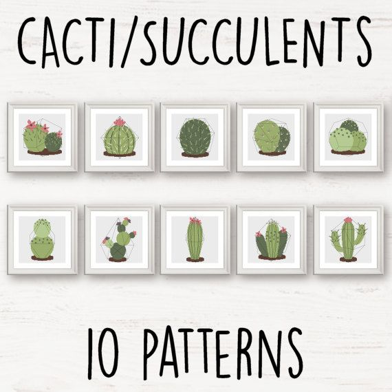 This is an Instant Download PDF Cross Stitch Pattern.  The complete Cacti and Succulents set in (optional)* geometric terrariums**  Patterns: ten