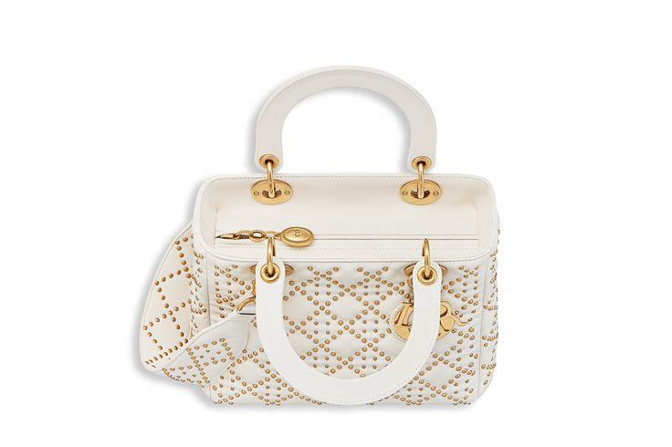 Bolsa lady dior flexível em couro de cordeiro cravejado cor cru - Dior