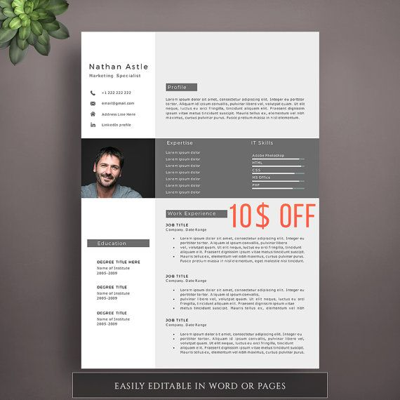 modern resume template creative resume template professional resume template for word and pages impressive cv template resume with photo - Impressive Resume Templates