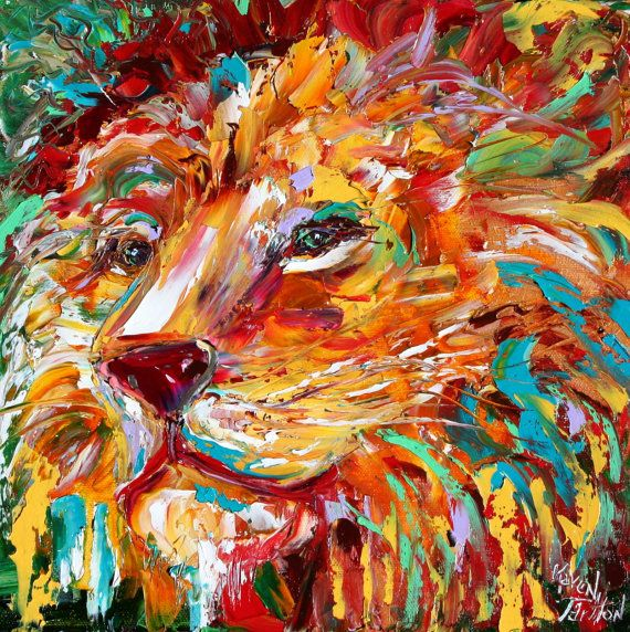 Abstract impressionism LION ANIMAL PORTRAIT painting Original Oil impasto palette knife modern fine art by Karen Tarlton via Etsy