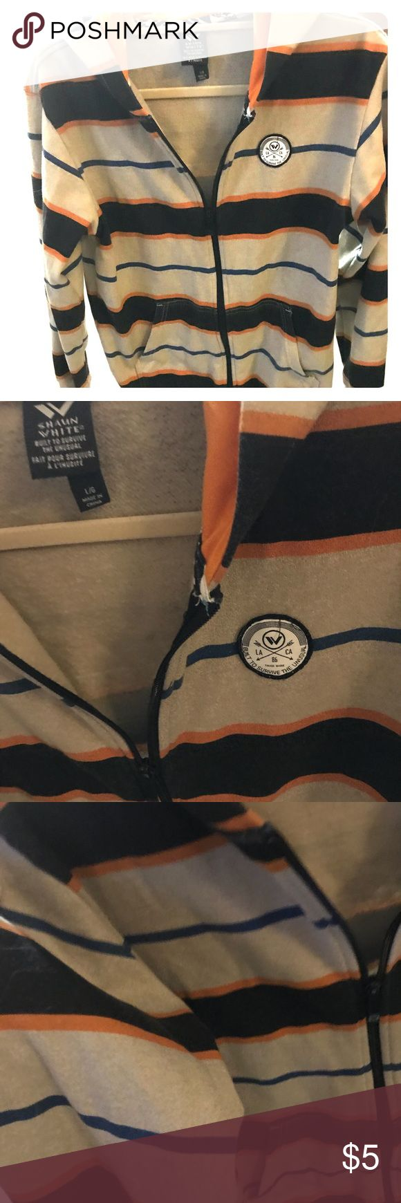 Shaun White Zip-Up Hoodie Size L Striped Pattern Shaun White Neutral Colored and Striped Pattern Zip-Up Hoodie. Fun details like chest patch and custom zipper. Size L Good Condition  Thanks for checking out this item! Don't forget to shop my closet for other fun pieces that you can bundle for extra savings❤️🐱 Shaun White Shirts & Tops Sweatshirts & Hoodies