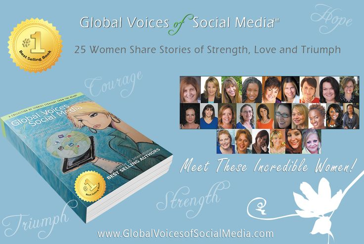 Global Voices of Social Media™:25 Women Share Stories of Strength, Love and Triumph In this #1 International Best-Selling Book the authors create a literary piece emphasizing the arts. Enjoy its unique hand illustrated artwork by internationally recognized artist, Nathalie Villeneuve. This anthology delivers inspiration chapter by chapter. Reignite your faith, hope and power by embracing the unity of their voices and the uniqueness of purpose, as they give rise to helping others.