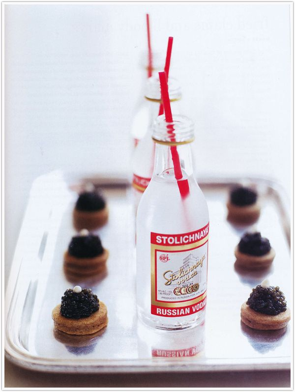 Buckwheat Blinis with Caviar & Vodka by Peter Callahan (Photos: Con Poulous) via Camille Styles