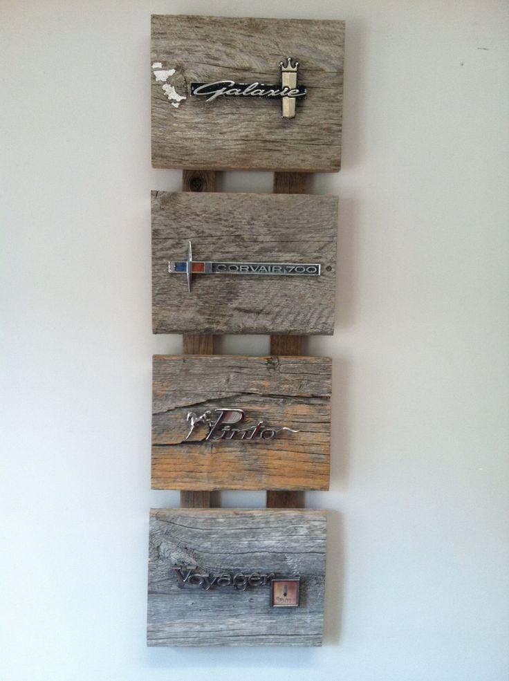 Reclaimed wood adorned with vintage car emblems.. $159.00, via Etsy.