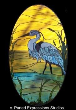 Blue Heron Stained Glass