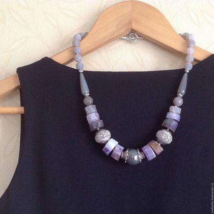 Колье бусы ожерелье из аметиста Агата сиреневое лавандовое купить в подарок девушке женщине любимой подруге украшение на шею крупное