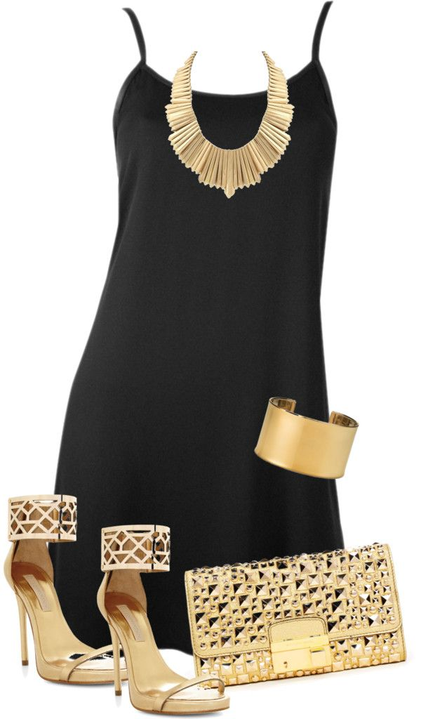 Image result for black outfit gold accessories
