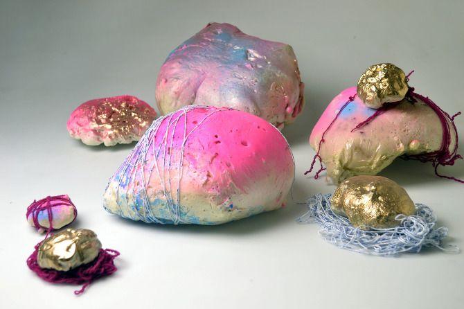 Space Rocks, 2012, Expanding foam, spray paint, acrylic paint, wool,