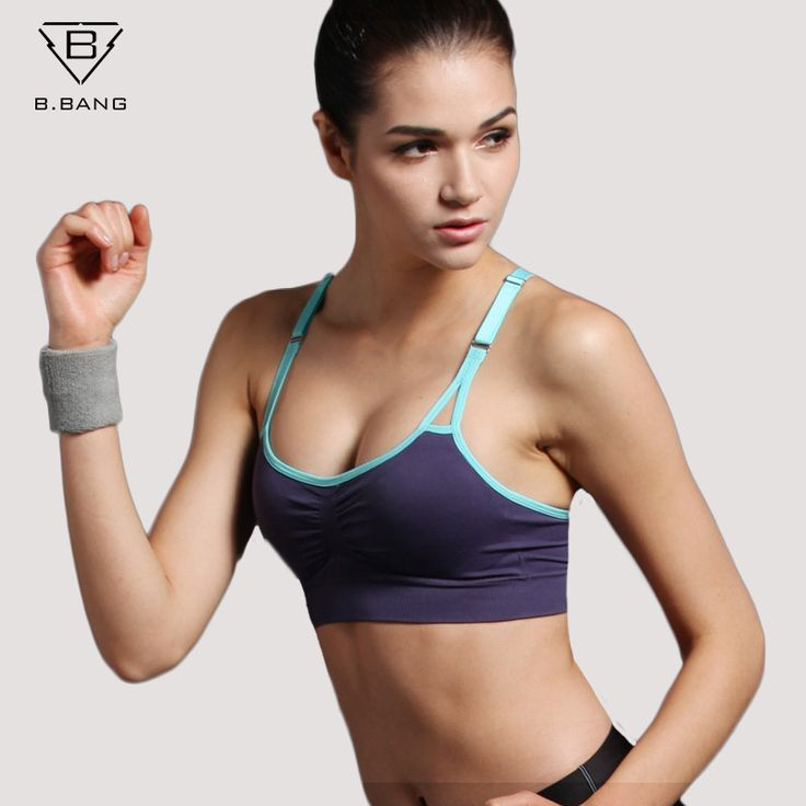 B.BANG Push Up Bra Running Sports Shirts for Yoga Gym Fitness Patchwork Tops For & Adjustable Strap Bra #yoga #fitness #workout #health #yogapants #meditation