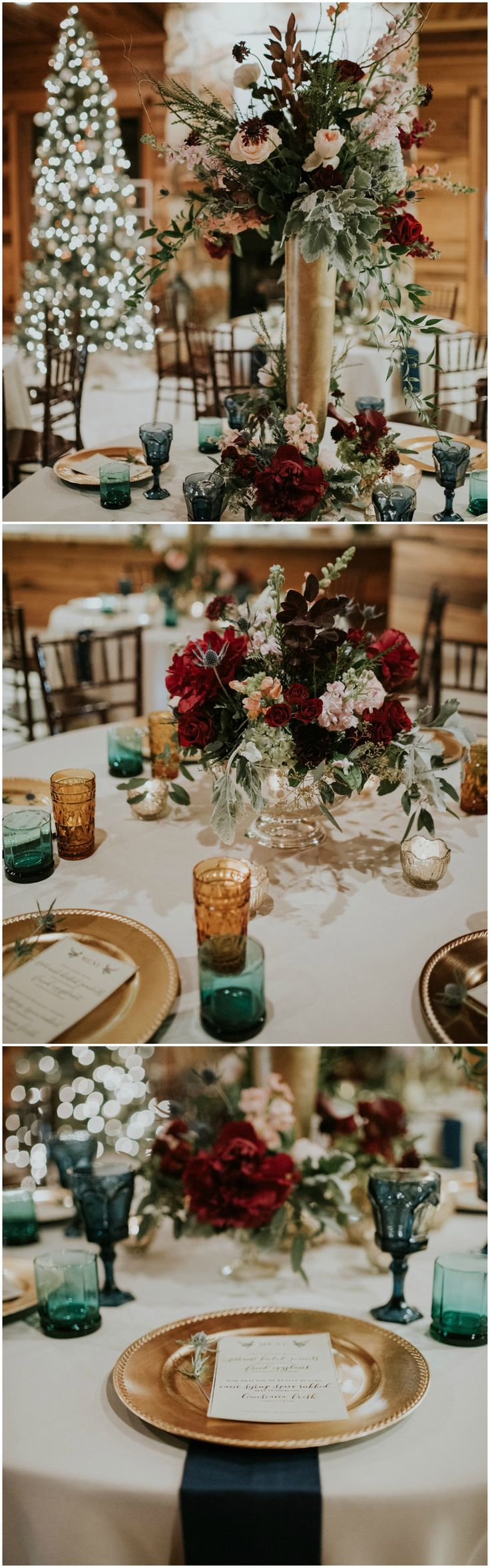 Winter wedding reception, indoor Christmas reception, Christmas tree, gold chargers, peach and dark red florals, colorful glassware, dark teal napkins // Moriah Elisabeth Photography
