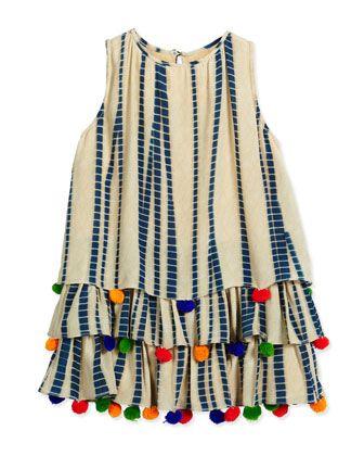 Sleeveless+Silk+Chiffon+Dress,+Multicolor+by+Hemant+and+Nandita+at+Neiman+Marcus.