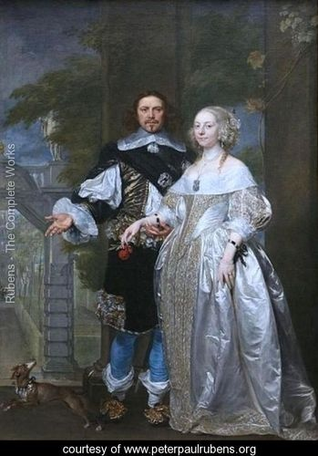 Lord Cavendish with His Wife Margaret in the Garden of Rubens in Antwerp - Peter Paul Rubens
