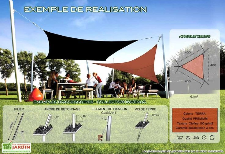 Voile d 39 ombrage ingenua 4x4x4 premium terra - Toile triangle jardin ...