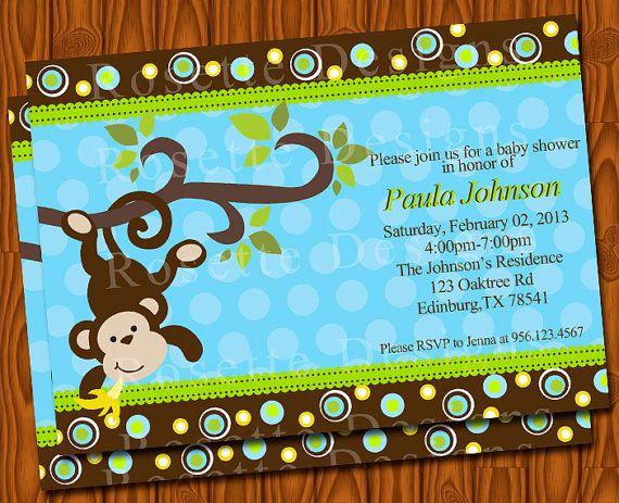 baby shower monkey-monkies invitation-baby boy - new, Baby shower invitations