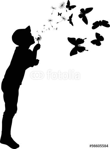 Child Silhouette Blowing On Black Dandelion Quot Stock Image