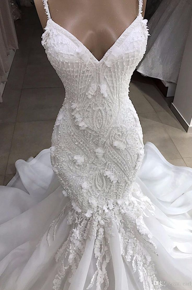 Horny Spaghetti Lace Appliqed Beaded Open Again Mermaid Marriage ceremony Costume Luxurious Crystal 3D Flowers