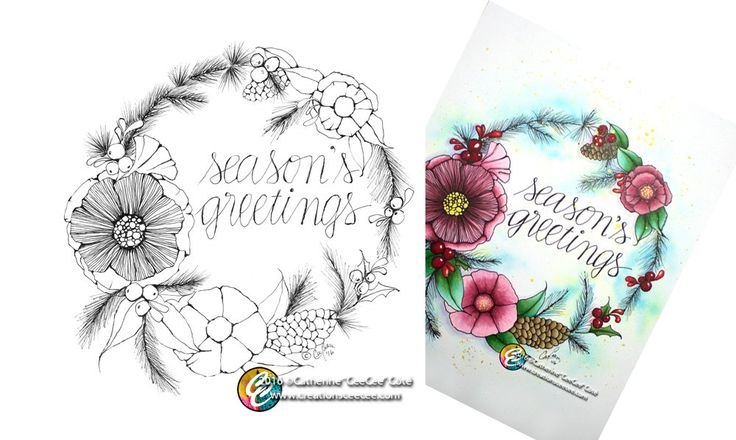 printable colouring page - season's greetings wreath by creationsCeeCee on Etsy