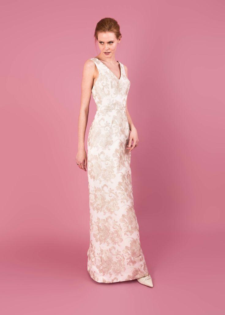 Modern wedding dress for the contemporary bride. Marilyn dress. Metallic flower embroidered dress.