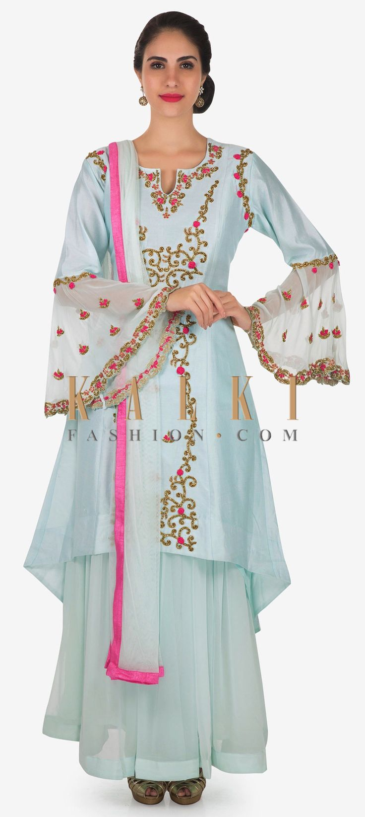 Buy Online from the link below. We ship worldwide Click Anywhere to Tag Sky blue A line suit in cotton silk with cut dana and resham embroidery only on Kalki  Sky blue A line suit featuring in cotton silk with bell sleeve. Its embellished in cut dana and resham embroidery in front panel. Matched with pleated skirt in georgette and net dupatta with silk border. Slight variation in color is possible.