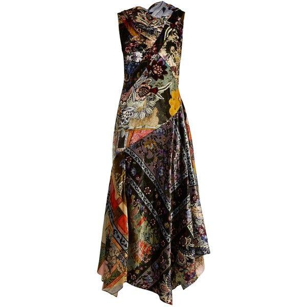 Erdem Reza floral-print velvet gown ($3,573) ❤ liked on Polyvore featuring dresses, gowns, multi, velvet evening gown, v neckline dress, velvet evening dress, floral ball gown and floral evening dresses