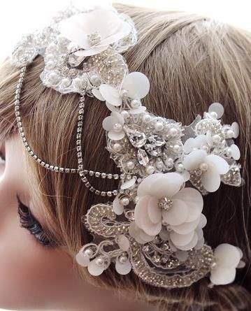Vintage Lace Pearls Bridal Accessories Wedding Jewelry. Love this 20s inspired piece.